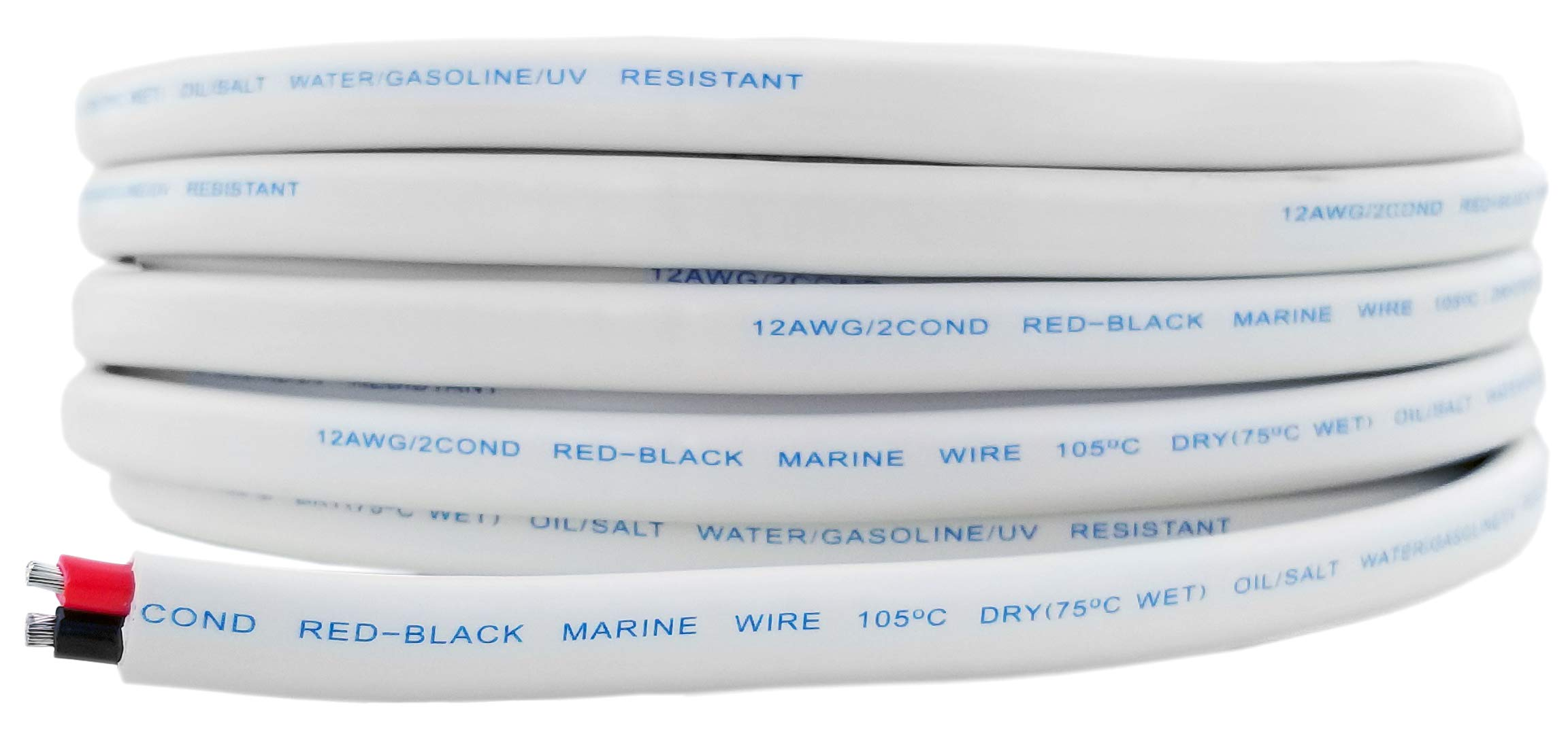 12 AWG (American Wire Gauge) Tinned Oxygen Free Copper OFC Duplex 12/2 Red Black Dual Conductor AC Marine Boat Wire | Cable Length: 100 FT (Also Available in 50 FT)