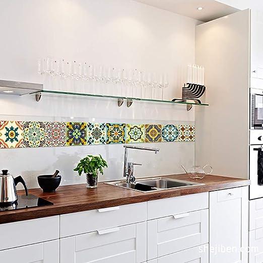 HX stickers 10 Piezas Auta-Adhesivo Mosaico Vinilo Adhesivo de Pared, Prueba de Aceite Impermeable Pelar y Pegar baldosas de baldosas para la decoración casera Cocina Cuarto de baño Suelo-A L: Amazon.es: Hogar