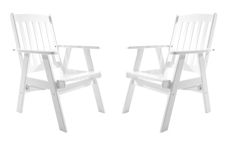 GARDENho.me 2er Set Massivholz verstellbarer Sessel VARBERG Hochlehner Weiß