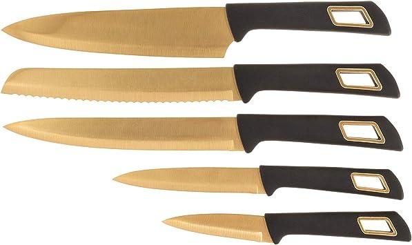 Laguiole - Estuche de 5 cuchillos de cocina con revestimiento de oro de titanio: Amazon.es: Hogar