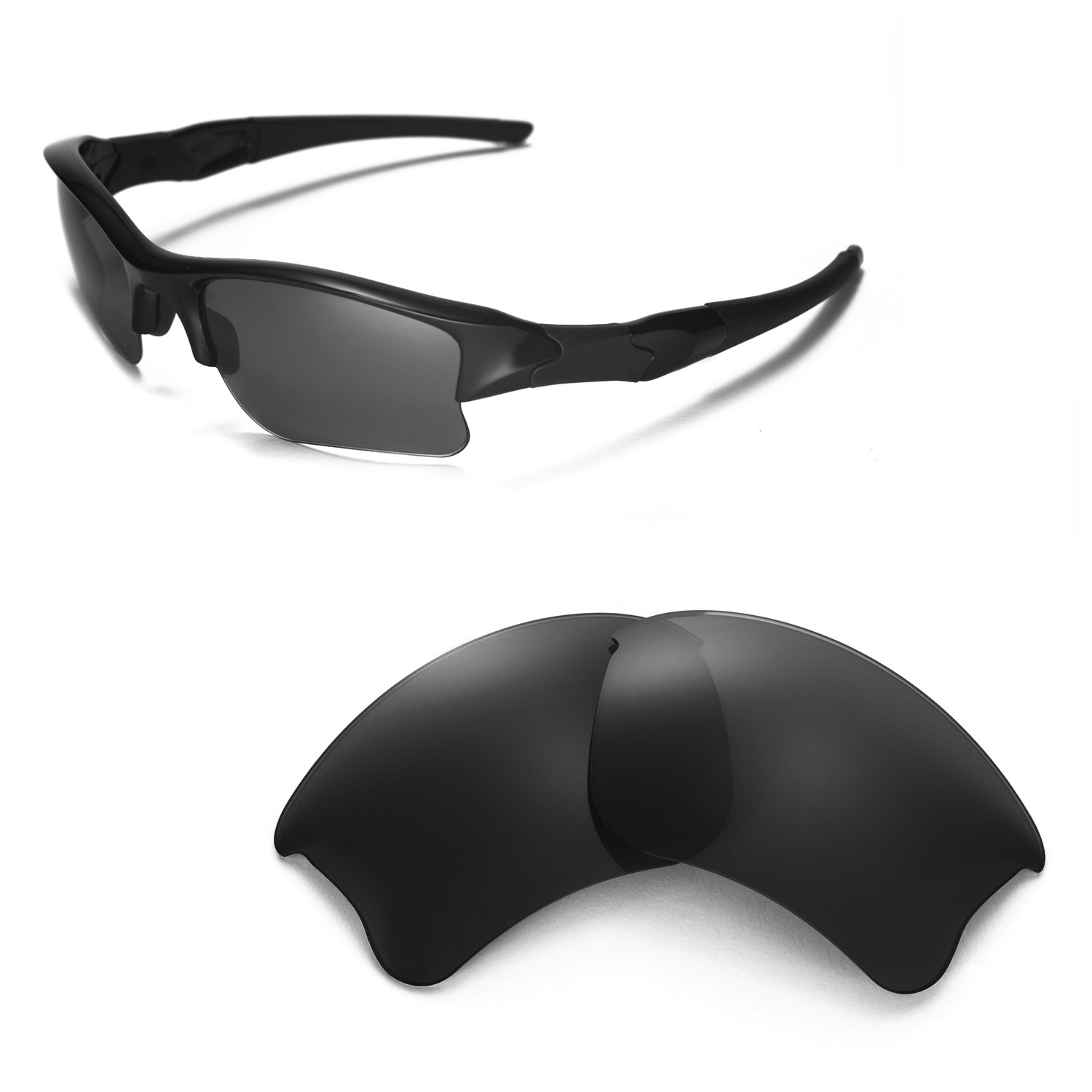 Walleva Replacement Lenses for Oakley Flak Jacket XLJ Sunglasses - Multiple Options Available (Black - Polarized)