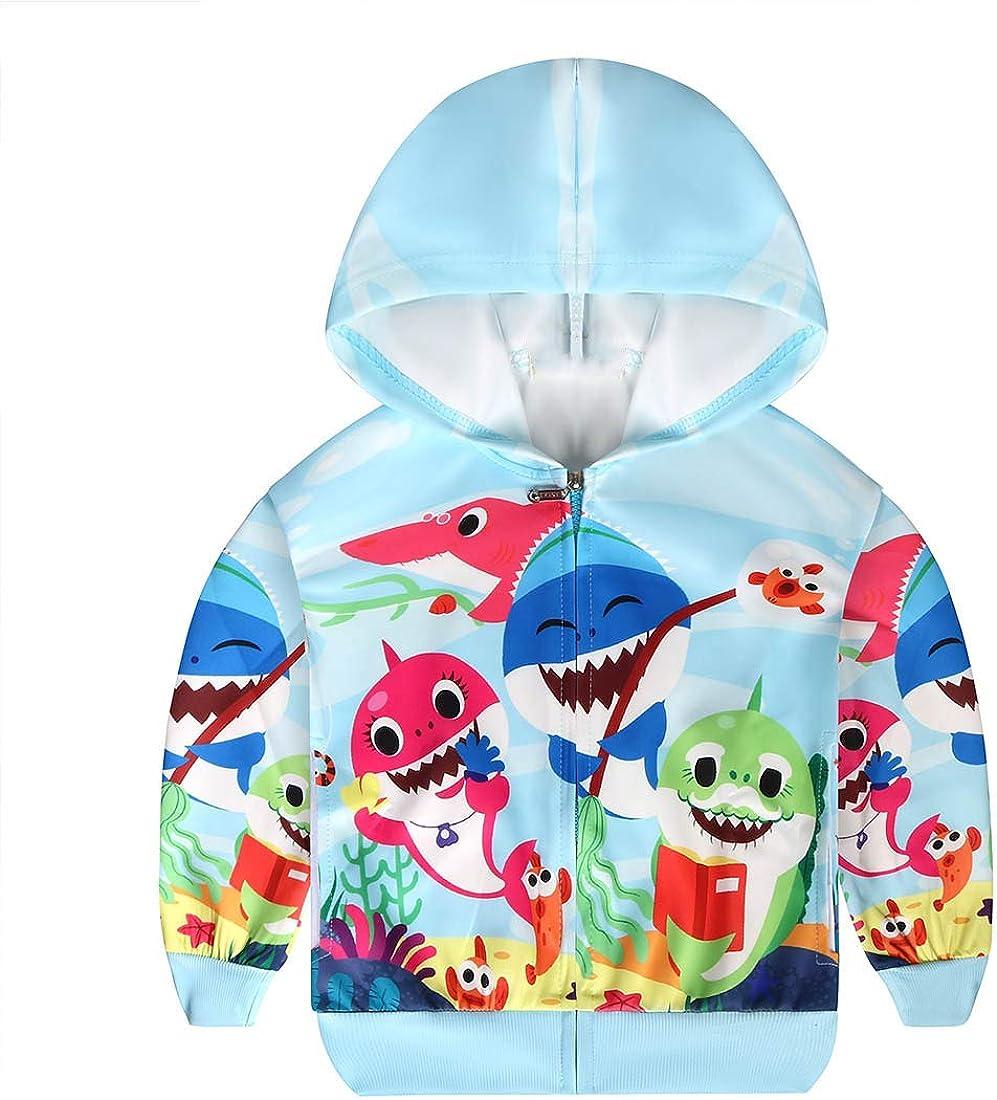 Girl Baby Shark Hoodies Cartoon Long Sleeve Toddler Sweatshirts 2-8 Years