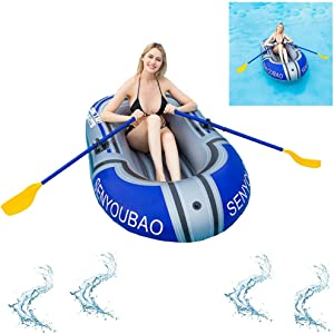 Single Inflatable Boat Set with 1PC Inflatable Boat, 1PC Paddle (one Set), 1PC 4 Inch Foot Pump for A Great Day on The Water - Whether on The Beach, Lake or River. (Latest Model)