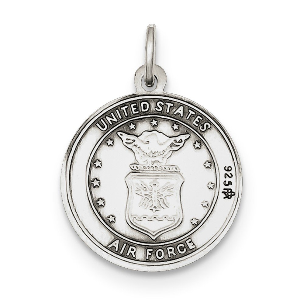 25mm x 20mm Solid 925 Sterling Silver St.Christopher US Air Force Medal Pendant