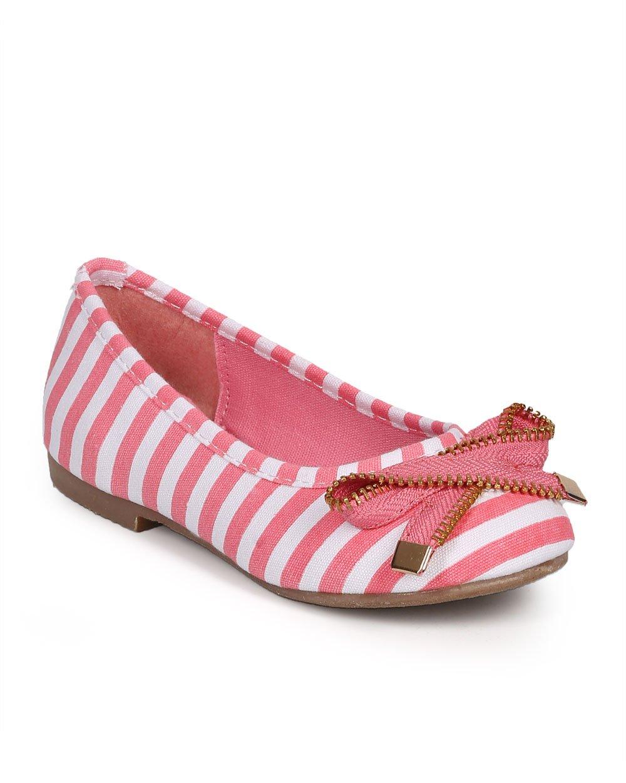 Stripe Canvas Zip Bow Ballerina Flat (Toddler/Little Girl/Big Girl) DJ74 - Pink (Size: Little Kid 12)