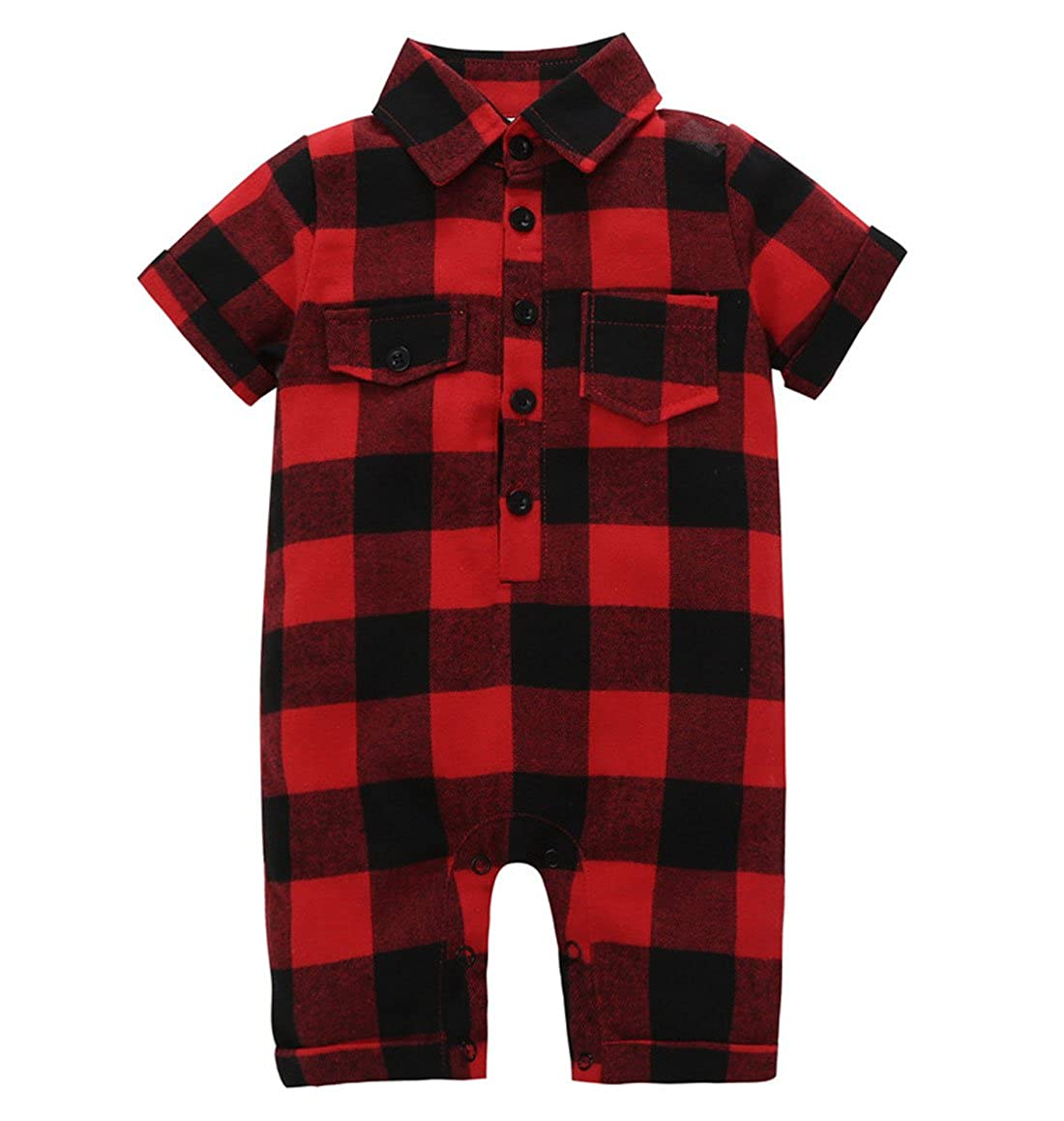 Tomfree Baby Boys Girls Red Black Plaid Collar Rompers Short Sleeve Bodysuits Outfits