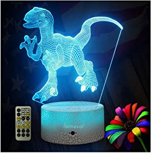 Dinosaur Night Lights for Kids Christmas Gift Birthday Timer Dino Toy 3D Illusion Lamp Dino Gifts for Boys Home Bedroom Party Supply Decoration 7 Color Blue Remote