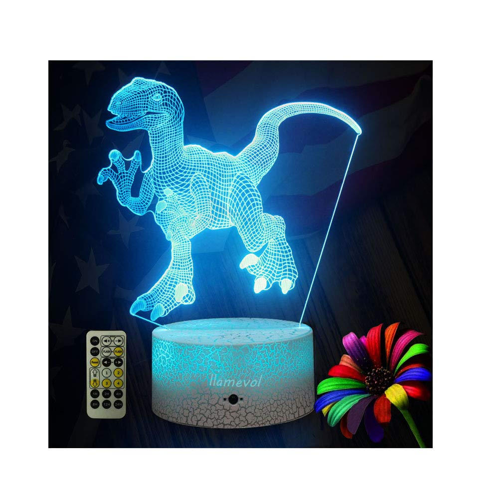 LLAMEVOL Dinosaur Night Lights for Kids Birthday Indoraptor Toy 3D Illusion Lamp Dino Gifts for Boys Home Bedroom Party Supply Decoration 7 Color Blue Raptor Remote Timer by LLAMEVOL (Image #1)