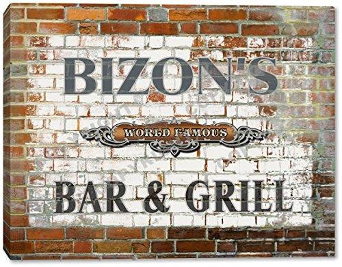 BIZON'S World Famous Bar & Grill Brick Wall Stretched Canvas Print