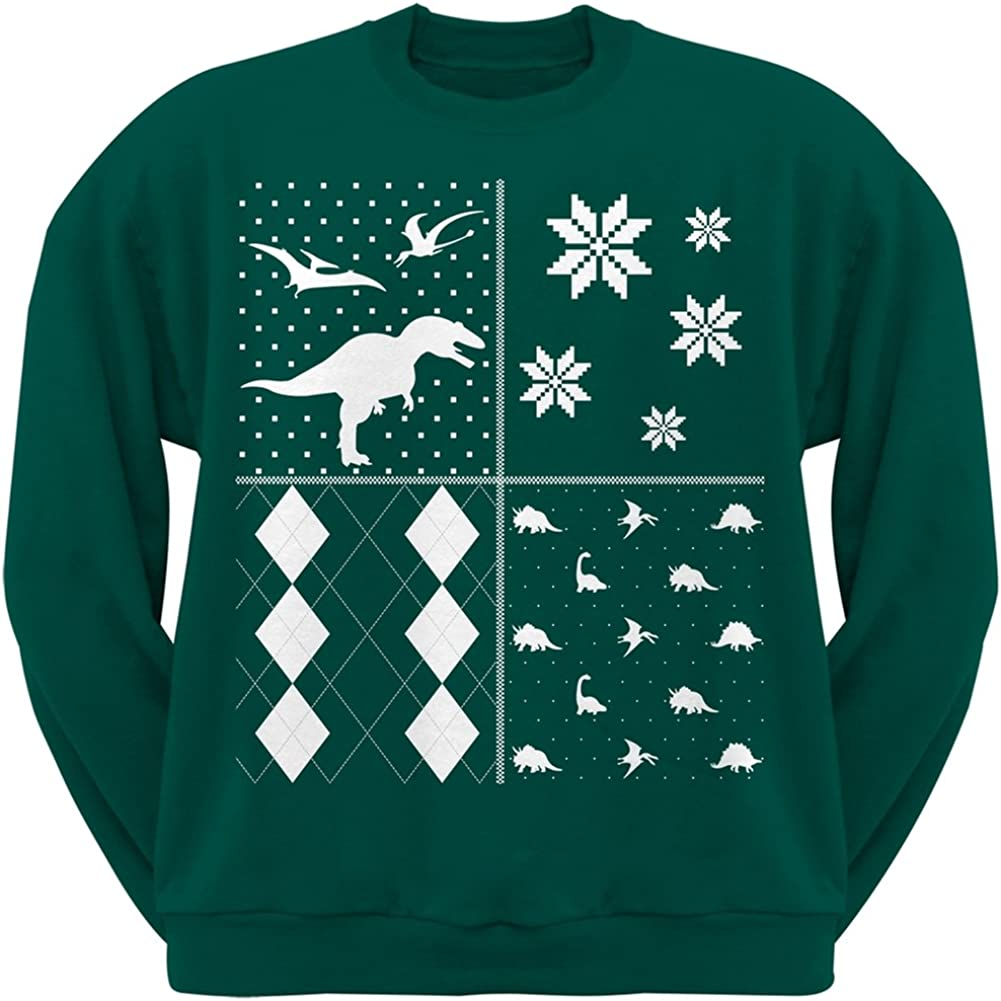 Dinosaurs Festive Blocks Ugly Christmas Sweater Green Adult Sweatshirt