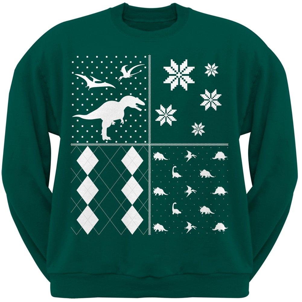 Old Glory Dinosaurs Festive Blocks Ugly Christmas Sweater Dark Green Adult Crew Neck Sweatshirt