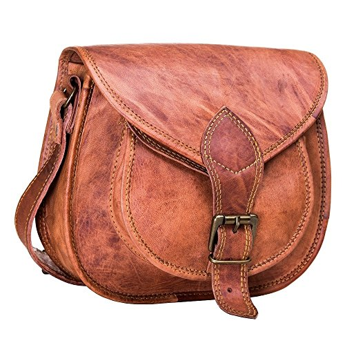 Urban Leather Saddle Bag Purse for Women and Girls, Leather Satchel Crossbody Purse and Handbag, Cosmetic Bag, Small Wallet Bicycle Bag, Woman Shopping Travel Bag, Gift for Teen Girl, Small 10 inch ()
