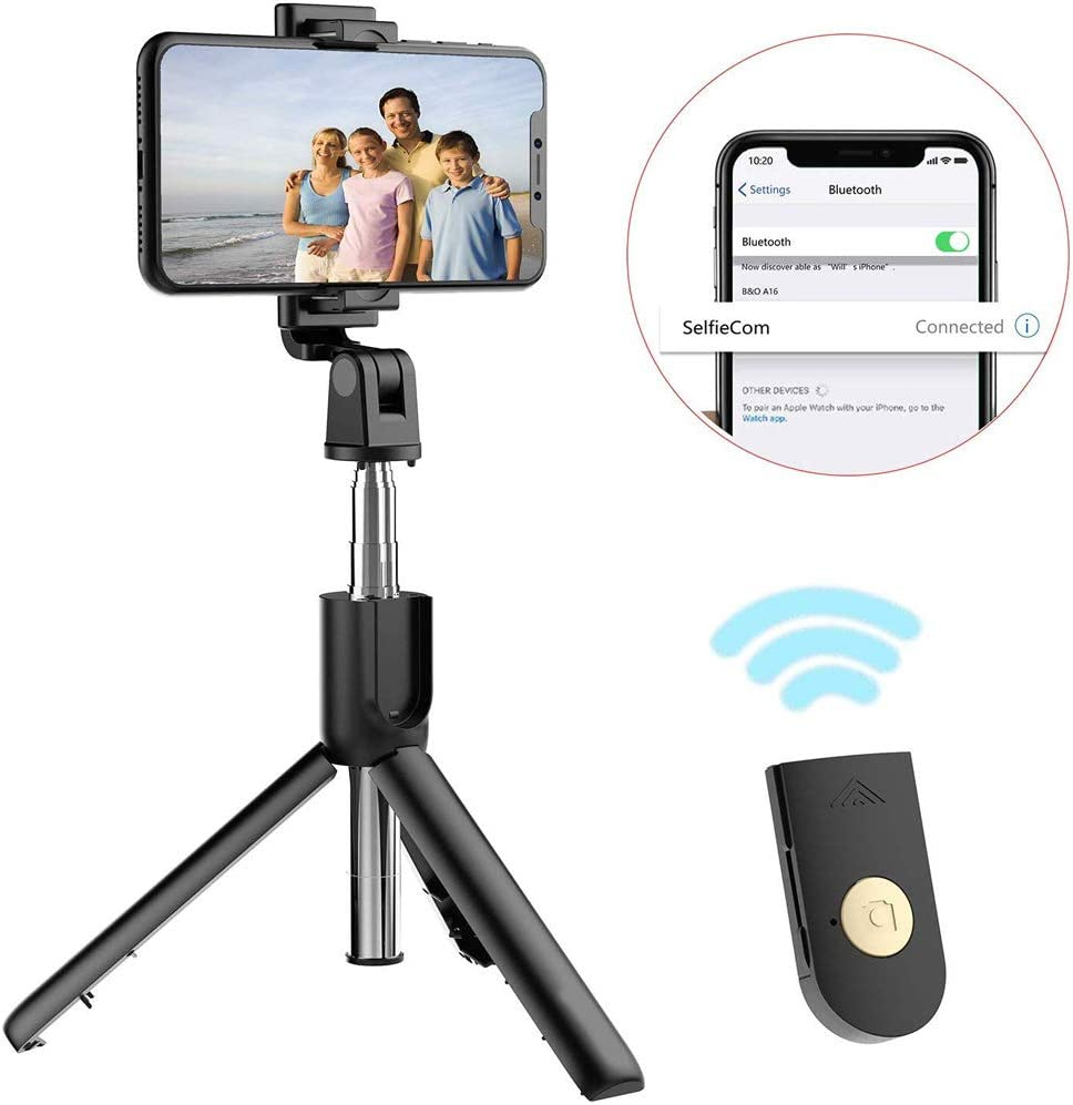 Extendable Selfie Stick Tripod with Detachable Bluetooth Remote and Tripod Stand Selfie Stick for iPhone Xs//iPhone X//iPhone 8//8 Plus//iPhone 7//7 Plus Galaxy Series and More HILZO Selfie Stick