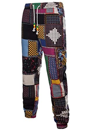 Selx Men Slim Fit African Print Linen Drawstring Jogger Pants At
