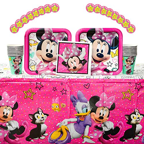 Minnie Mouse Happy Helpers Birthday Party Supplies Pack for 16 Guests| Thank You Stickers, 16 Paper Dinner Plates, Paper Luncheon Napkins, Table Cover, and Paper Cups | Minnie Mouse Party Supplies]()