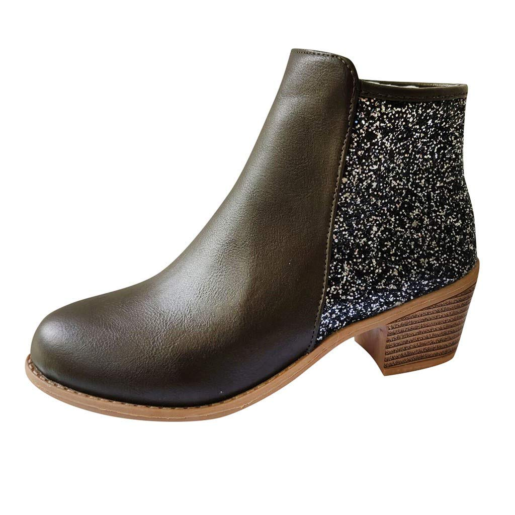 Dermanony Women's Mid-Heel Ankle Boots Fashion Girls Sequins Patchwork Bling Thick Heels Zipper Short Boots Chelsea Boot Green by Dermanony _Shoes