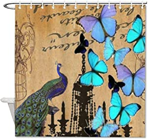 Shower Curtain,Chandelier Modern Vintage Peacock Blue Butterfly,Home Bathtub Polyester Fabric Shower Curtain for Bathroom Decor,Waterproof Washable,35x72''