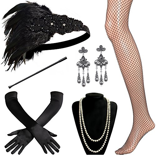 BABEYOND 1920s Flapper Accessories Roaring 20s Gatsby Costume Accessories Set (Set-19)