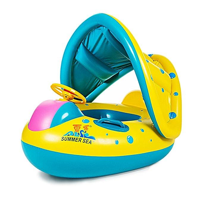 Flotador con Asiento Parasol Desmontable Flotador de Piscina para Bebe Diseño de Barca: Amazon.es: Deportes y aire libre
