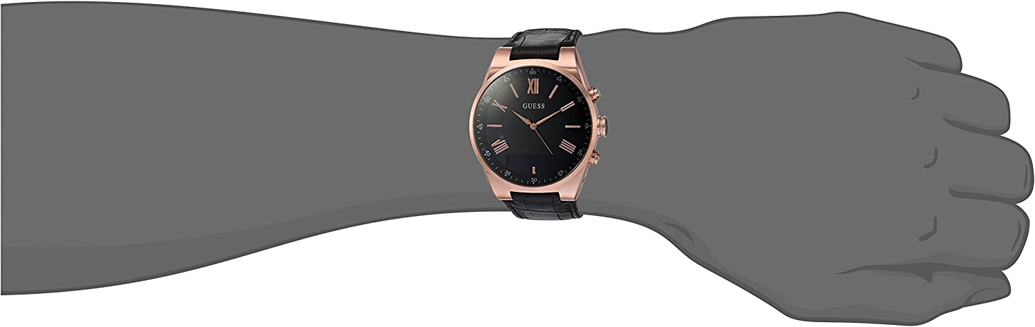 GUESS Men s Stainless Steel Connect Smart Watch – Amazon Alexa, iOS and Android Compatible, Color Black Model C0002MB3