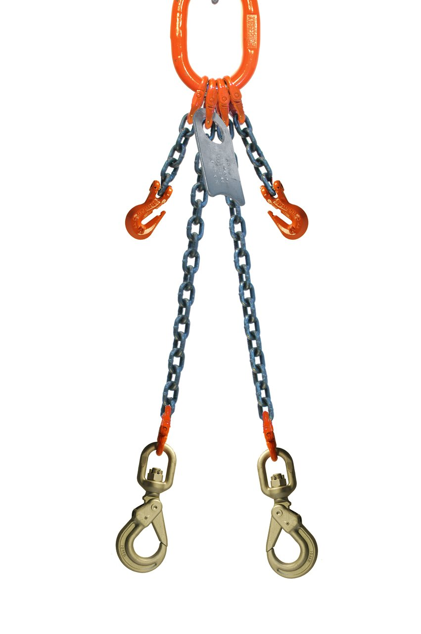 Chain Sling 9//32 x 5 Double Leg with Positive Locking Hooks and Adjusters Grade 100