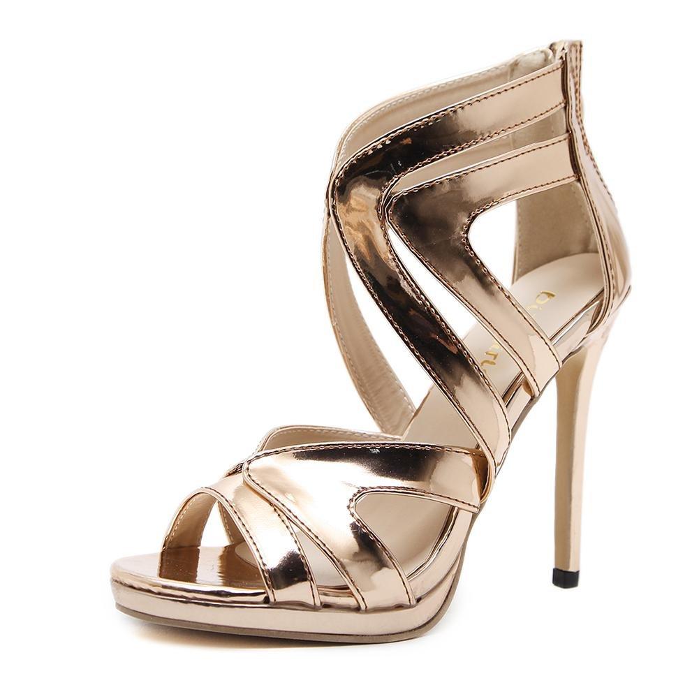 Damen Sexy Sandalen Stilett Hoch Hacke Schuhe Durchbrochen Gold Arbeit Party Kleid Nachtclub