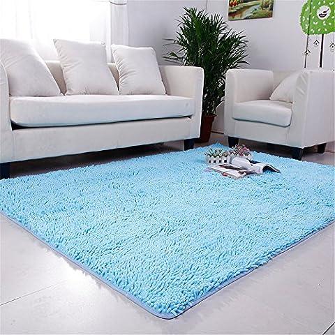 Hoomy European Microfiber Living Room Area Rugs Sky Blue Chenille Carpet Solid Fluffy Modern Floor Rug Bedroom Area Carpet for Kids Room Anti-slip Plush Children Play Mats 3.9'X5.2'