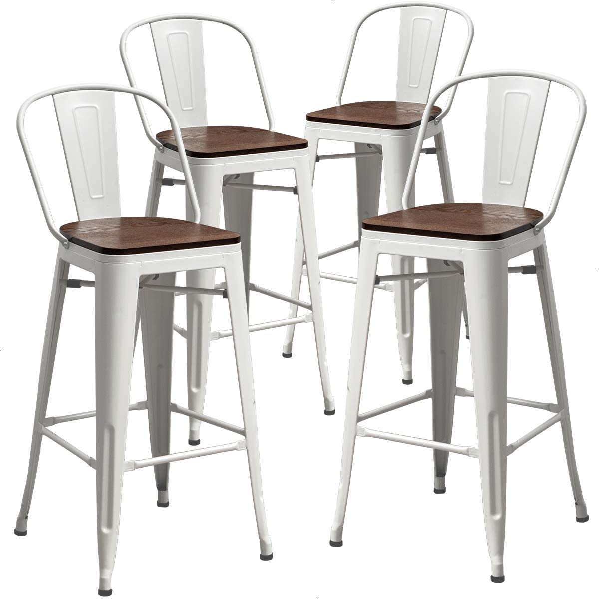 TONGLI Metal Counter Height Bar Stools Kitchen Counter Stools Set of 4 Ding Kitchen Chairs High Back 30 Inches Bar Chairs Stools White, High Back