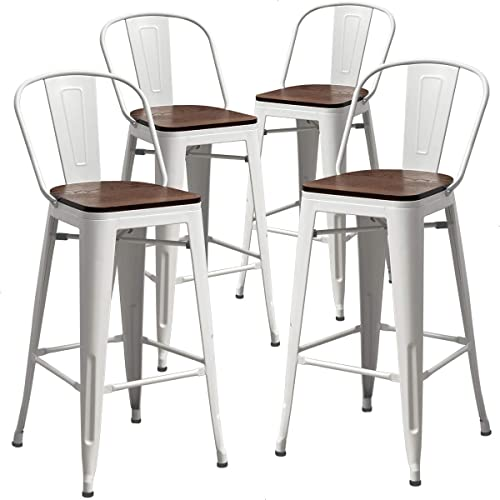 TONGLI Metal Counter Height Bar Stools Kitchen Counter Stools Set of 4 Ding Kitchen Chairs High Back 30 Inches Bar Chairs Stools White
