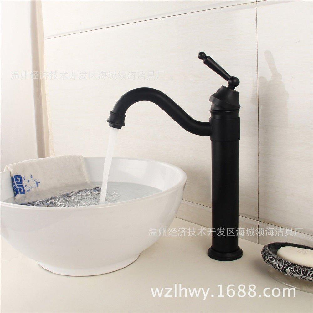 Kitchen Sink Faucet schwarz Messing antik Küchenspüle Waschtisch Armatur aus Massivem Messing antik Waschbecken Waschtisch Armatur Tippen Sie auf