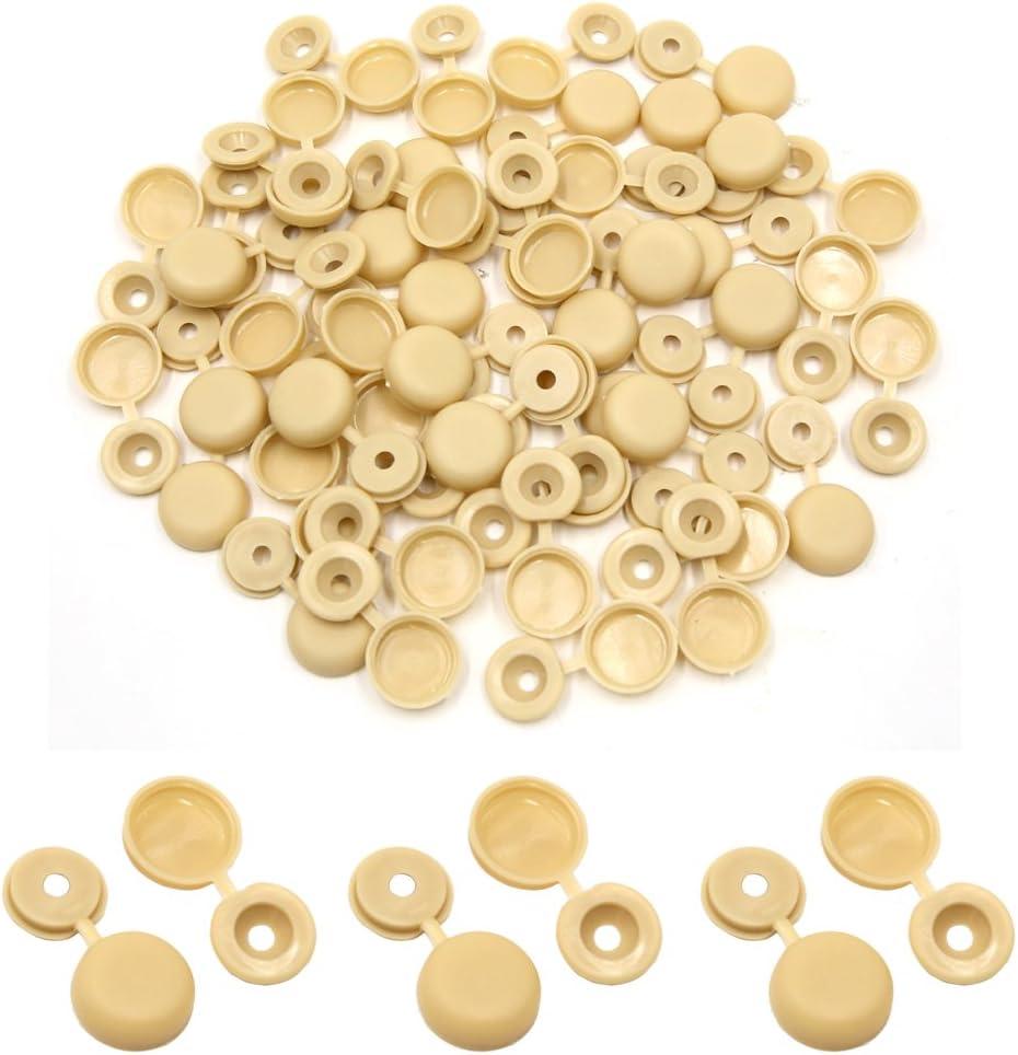 sourcing map 50pcs plastique pliable universelle beige /à charni/ères capot bouchons /à vis 4 mm pour Auto Voiture