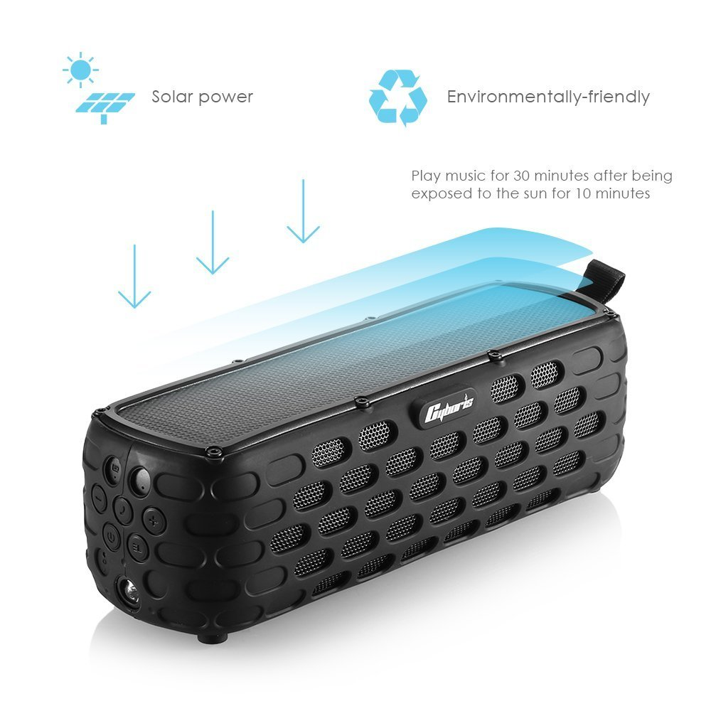 Cyboris Solar Bluetooth Speaker, 30+Hours Playing Time Portable Speaker with Splashproof Solar-Charged Wireless Bass IP65 Stereo Bluetooth 4.0 Loudspeaker Shock for Outdoor Sports (Black)