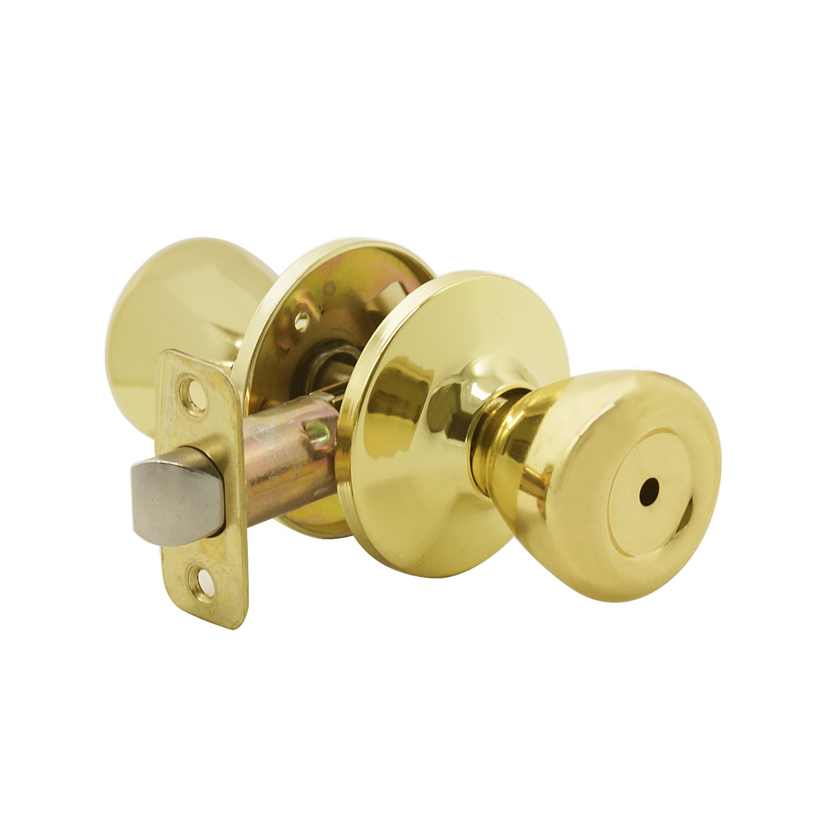 Privacy Keyless Door Knobs Interior Bathroom Door Lockset, Zinc Alloy,Polished Brass