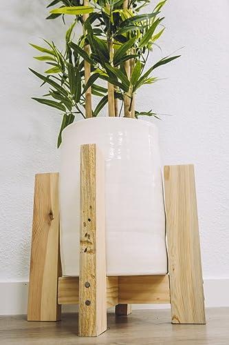 Macetero cermica grande Macetero cermica blanca con pies madera