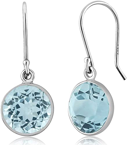 Details about  /Blue Topaz Gemstone Jewelry Rose Color 925 Sterling Silver Earrings