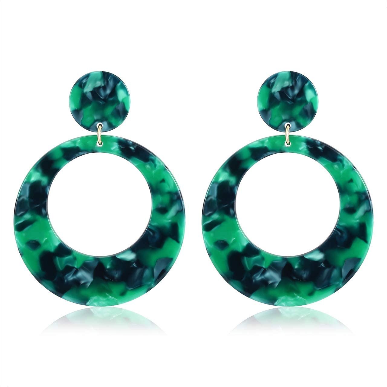 YAHPERN Acrylic Earrings for Women Girls Statement Geometric Earrings Resin Acetate Drop Dangle Earrings Mottled Hoop Earrings Fashion Jewelry