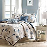 Cape Cod Beach Bedding 6 Piece Coverlet Set in Blue and Tan. Nautical Cottage House Theme with Seashells, Shams, and Toss Pillows. Includes Scented Candle Wax Melts From Designer Home. (King)