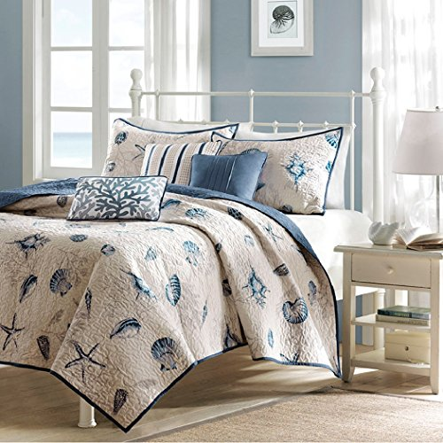 Cape Cod Beach Bedding 6 Piece Coverlet Set in Blue and Tan. Nautical Cottage House Theme with Seashells, Shams, and Toss Pillows. Includes Scented Candle Wax Melts From Designer Home. (King) by MP