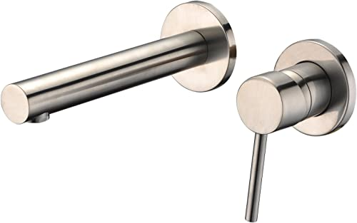 Sumerain Wall Mount Bathroom Faucet Brushed Nickel,Valve Included