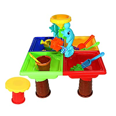 Sacow Sand and Water Table, Children Summer Beach Toys Baby Play Water Digging Sandglass Play Sand Tools (25pc): Toys & Games