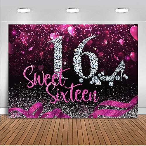 Mocsicka Sweet Sixteen Backdrop 8x6ft Vinyl Girl's 16th