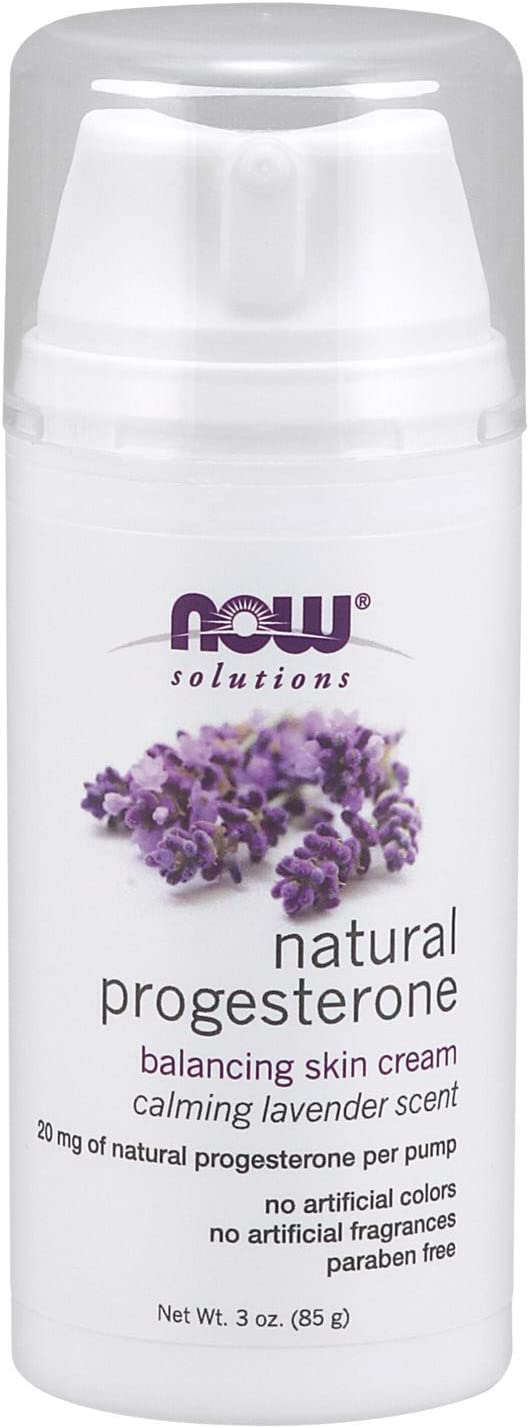 Now Solutions, Natural Progesterone, Balancing Skin Cream with Lavender, 20 mg of Natural Progesterone Per Pump, 3-Ounce