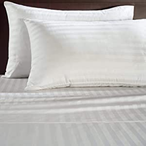 ADDY HOME FASHIONS 500 Thread Count Luxury Egyptian Cotton Sateen Damask Stripe Sheet Set, Queen, White