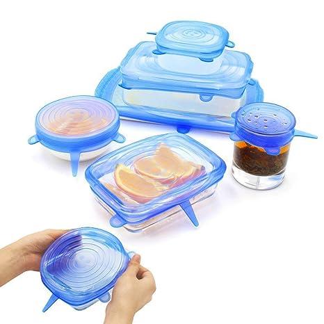 sin BPA duraderas y ampliables platos se adaptan a diferentes formas de recipientes cuencos,6 unidades Blues Color Tapas el/ásticas de silicona para taz/ón de 6 o 12 unidades reutilizables