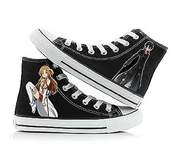 Sword Art Online Cosplay zapatos de Lienzo zapatillas zapatos Negro 1, Negro: Amazon.es: Deportes y aire libre