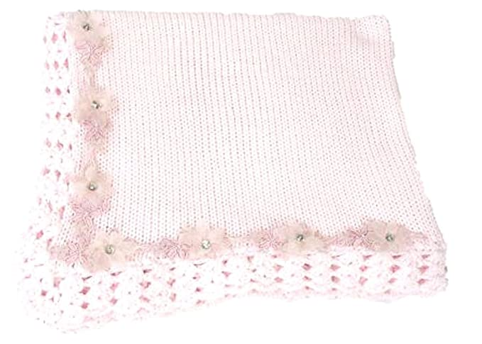 Knitted Crochet Finished Pink Cotton Large Baby Blanket with