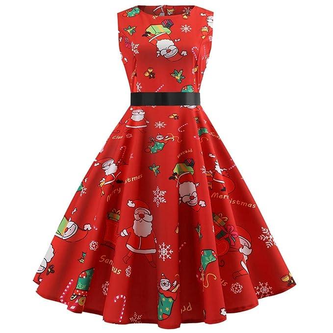 La migliore vendita del 2019 moderno ed elegante nella moda selezione premium Vestiti Donna Elegante,Donne Natale Stampato Pizzo Abito ...