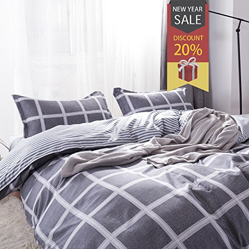 Uozzi Bedding 3 Piece Duvet Cover Set Queen, Reversible Printing with Brushed Microfiber, Lightweight Soft, New Year gifts for Men, Women, Kids, Teens, Family (Black& White Plaid, Queen) (Womens Duvet)