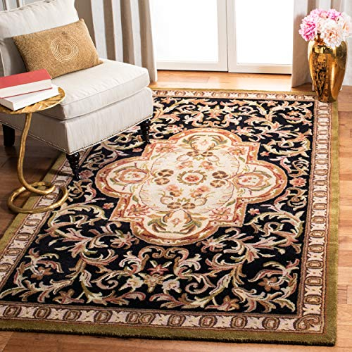 Safavieh Classic Collection CL220B Handmade Traditional Oriental Black and Beige Wool Area Rug 4 x 6