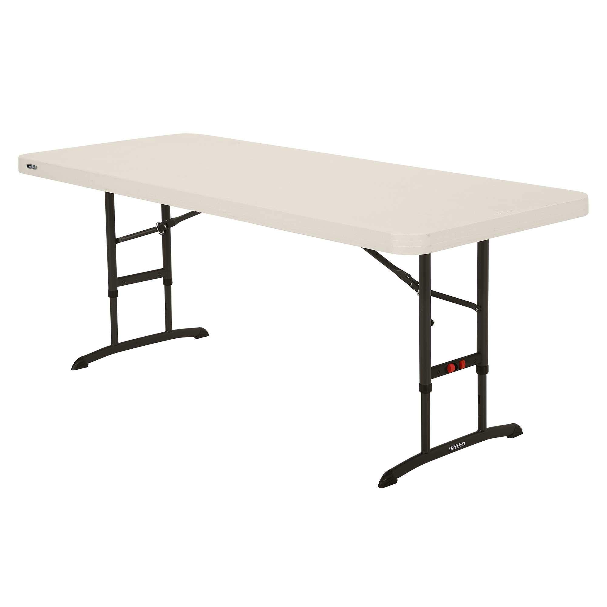 Lifetime 80565 6 ft (1.83 m) Commercial Adjustable Height Folding Table - Almond